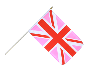 Union Jack pink Hand Waving Flag 12x18""