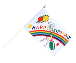 Happy Birthday Drapeau sur hampe 30 x 45 cm