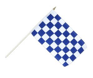 Checkered blue-white Hand Waving Flag 12x18""