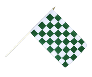 Checkered Green-White Hand Waving Flag 12x18""