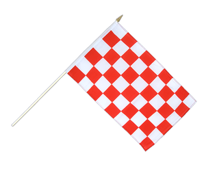 Checkered Red-White - Hand Waving Flag 12x18""