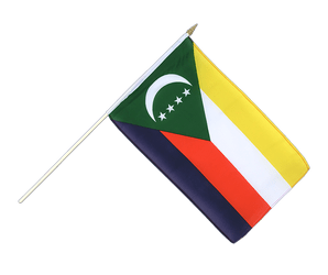 Comoros Hand Waving Flag 12x18""