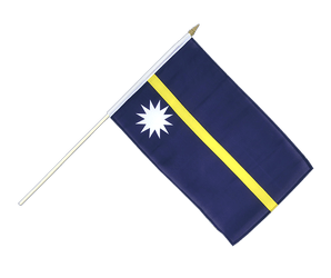 Nauru - Hand Waving Flag 12x18""