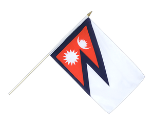 Nepal - Hand Waving Flag 12x18""