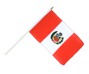 Peru Hand Waving Flag 12x18""