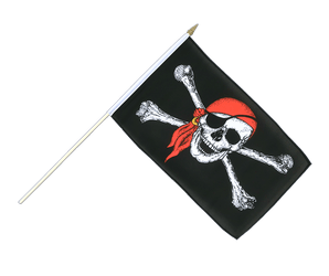 Pirate with bandana Hand Waving Flag 12x18""