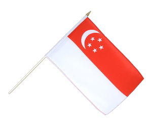 Singapore - Hand Waving Flag 12x18""