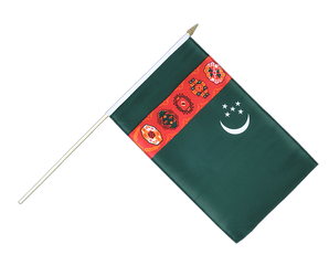 Turkmenistan Hand Waving Flag 12x18""
