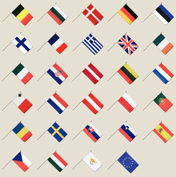 European Union Hand Waving Flag Pack 12x18""