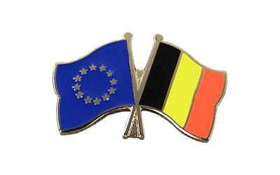 EU + Belgium Crossed Flag Pin
