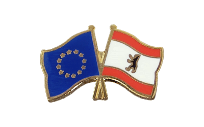 EU + Berlin Crossed Flag Pin