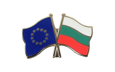 EU + Bulgaria Crossed Flag Pin