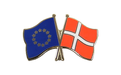 EU + Denmark Crossed Flag Pin