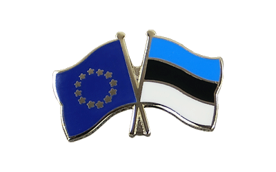 EU + Estonia Crossed Flag Pin
