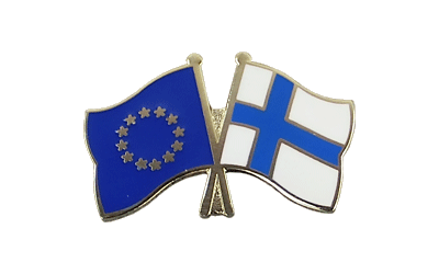 EU + Finland Crossed Flag Pin