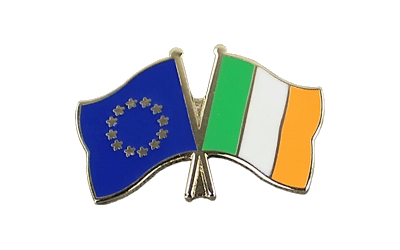 EU + Ireland - Crossed Flag Pin