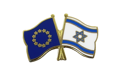 EU + Israel Crossed Flag Pin