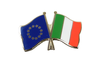 EU + Italy Crossed Flag Pin