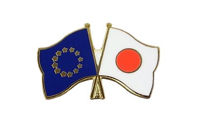 EU + Japan Crossed Flag Pin