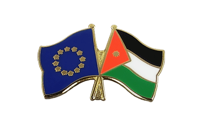 EU + Jordan Crossed Flag Pin