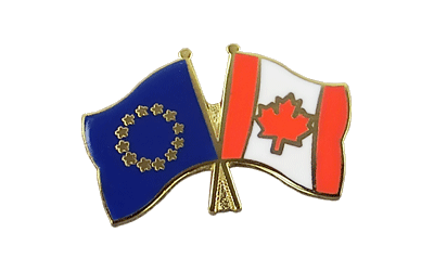 EU + Canada Crossed Flag Pin
