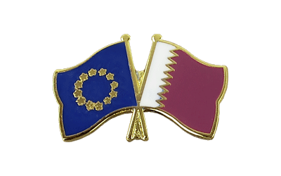 EU + Qatar Crossed Flag Pin
