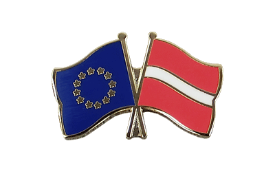 EU + Latvia Crossed Flag Pin