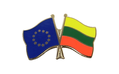 EU + Lithuania Crossed Flag Pin