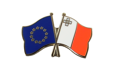EU + Malta Crossed Flag Pin