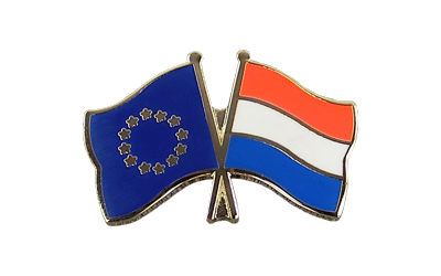EU + Netherlands Crossed Flag Pin