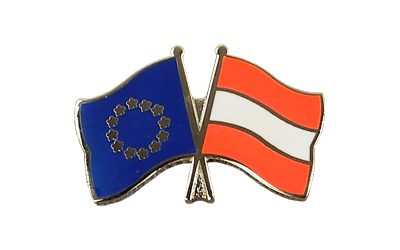 EU + Austria Crossed Flag Pin