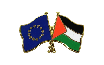 EU + Palestine Crossed Flag Pin