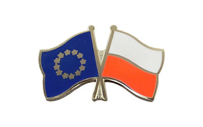 EU + Poland Crossed Flag Pin