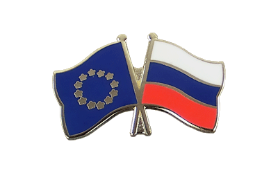 EU + Russia Crossed Flag Pin