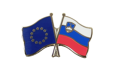EU + Slovenia Crossed Flag Pin