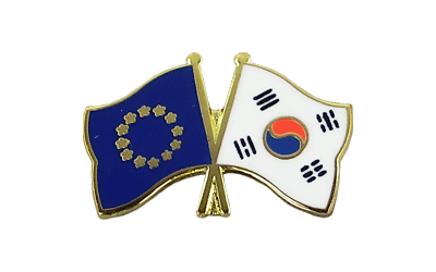 EU + South Korea Crossed Flag Pin