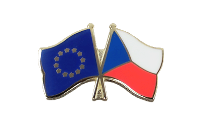EU + Czech Republic Crossed Flag Pin