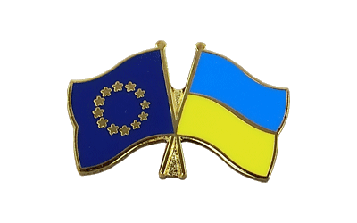 EU + Ukraine Crossed Flag Pin