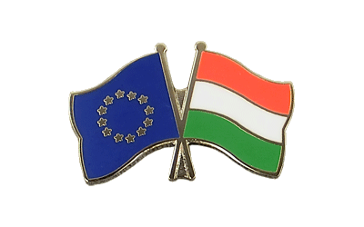 EU + Hungary Crossed Flag Pin
