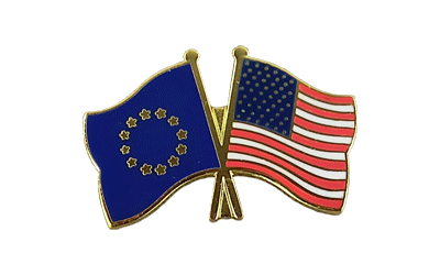 EU + USA Crossed Flag Pin