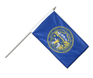 Nebraska - Hand Waving Flag 12x18""