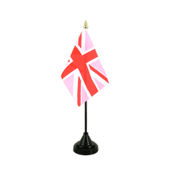 Union Jack pink Table Flag 4x6""
