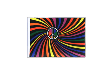Fanion rectangulaire Arc en Ciel Peace Swirl 10 x 15 cm