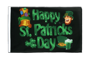 Pavillon Happy St. Patrick's Day Fête de la Saint-Patrick Noir Fourreau ECO 60 x 90 cm