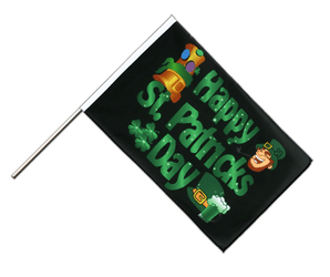 Happy Saint Patrick's Day St Patrick's Black - Hand Waving Flag ECO 2x3 ft