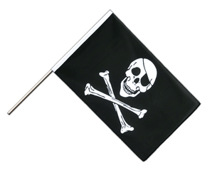 Pirate Skull and Bones - Hand Waving Flag ECO 2x3 ft