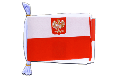 "Poland with eagle Mini Flag Bunting 6x9"", 3 m"