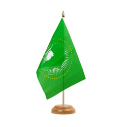 "African Union AU Table Flag 6x9"", wooden"