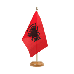 "Albania Table Flag 6x9"", wooden"