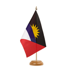 "Antigua and Barbuda Table Flag 6x9"", wooden"